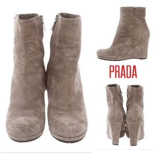 AUTHENTIC‼️ PRADA ANKLE SPORT WEDGE BOOTS